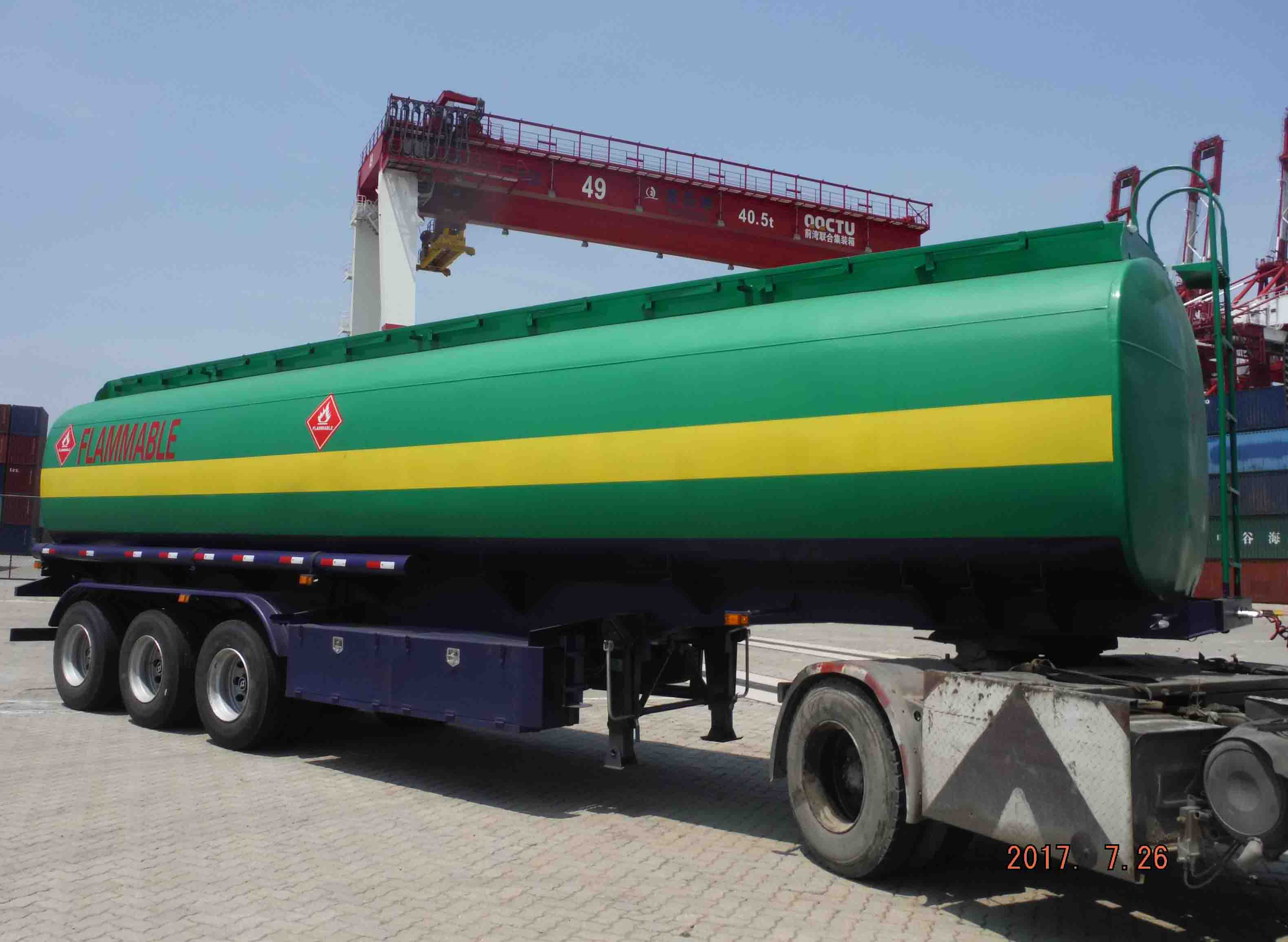 fuel tanker trailer on China Qingdao port.jpg