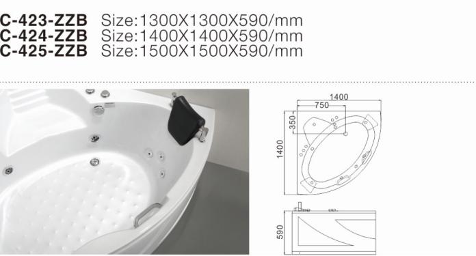 (1) C-423-ZZB-2017 Нов ъгъл Самостоятелен акрилен хидромасажен хидромасаж Вътрешна гореща вана със седалка.png