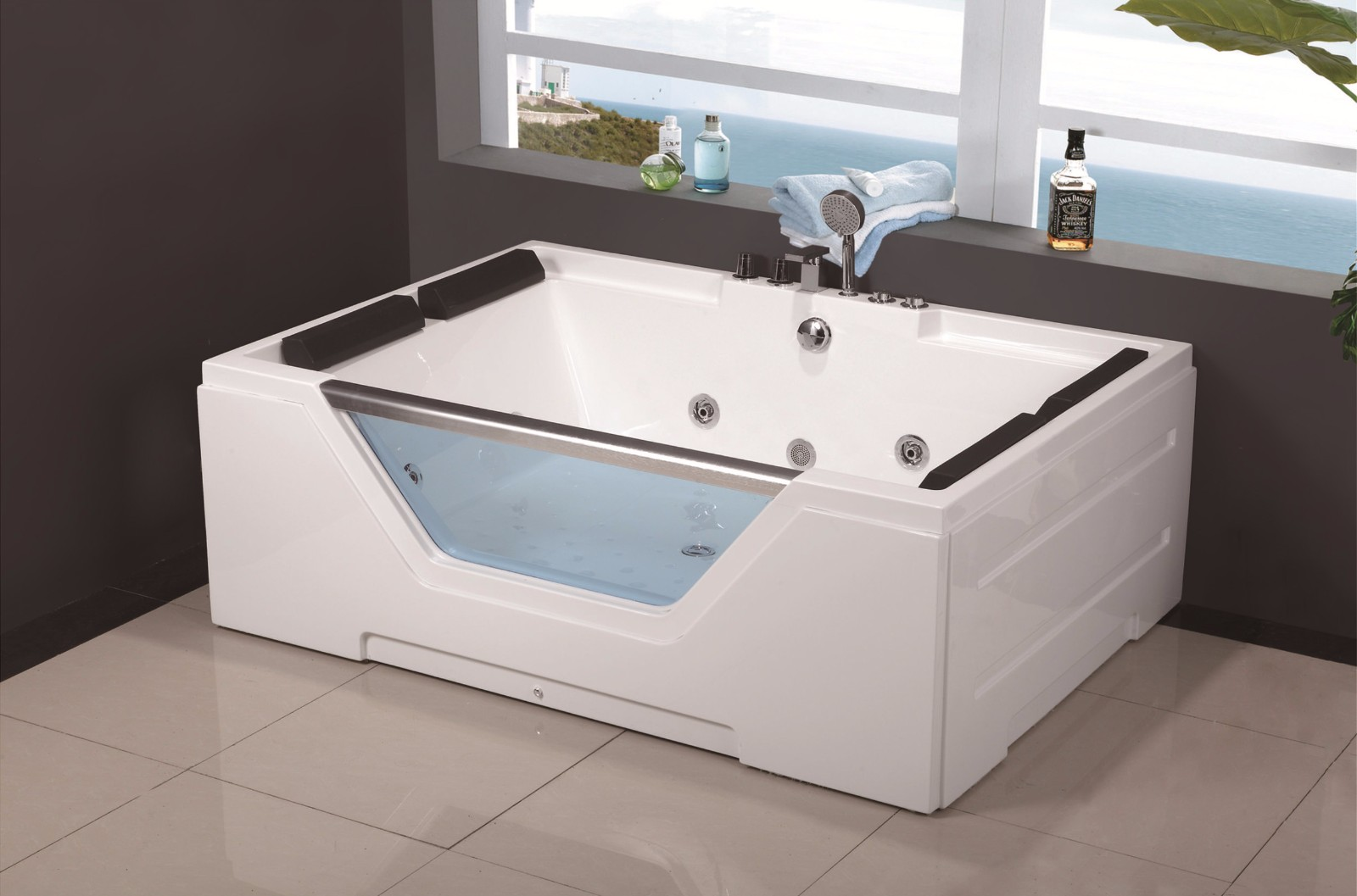 C-436 (C-3099) Luxury Acrylic 2 Two Person Modern Simple Design Style Whirlpool Jetted Massage Hot Tub Bathroom Bathtub.jpg