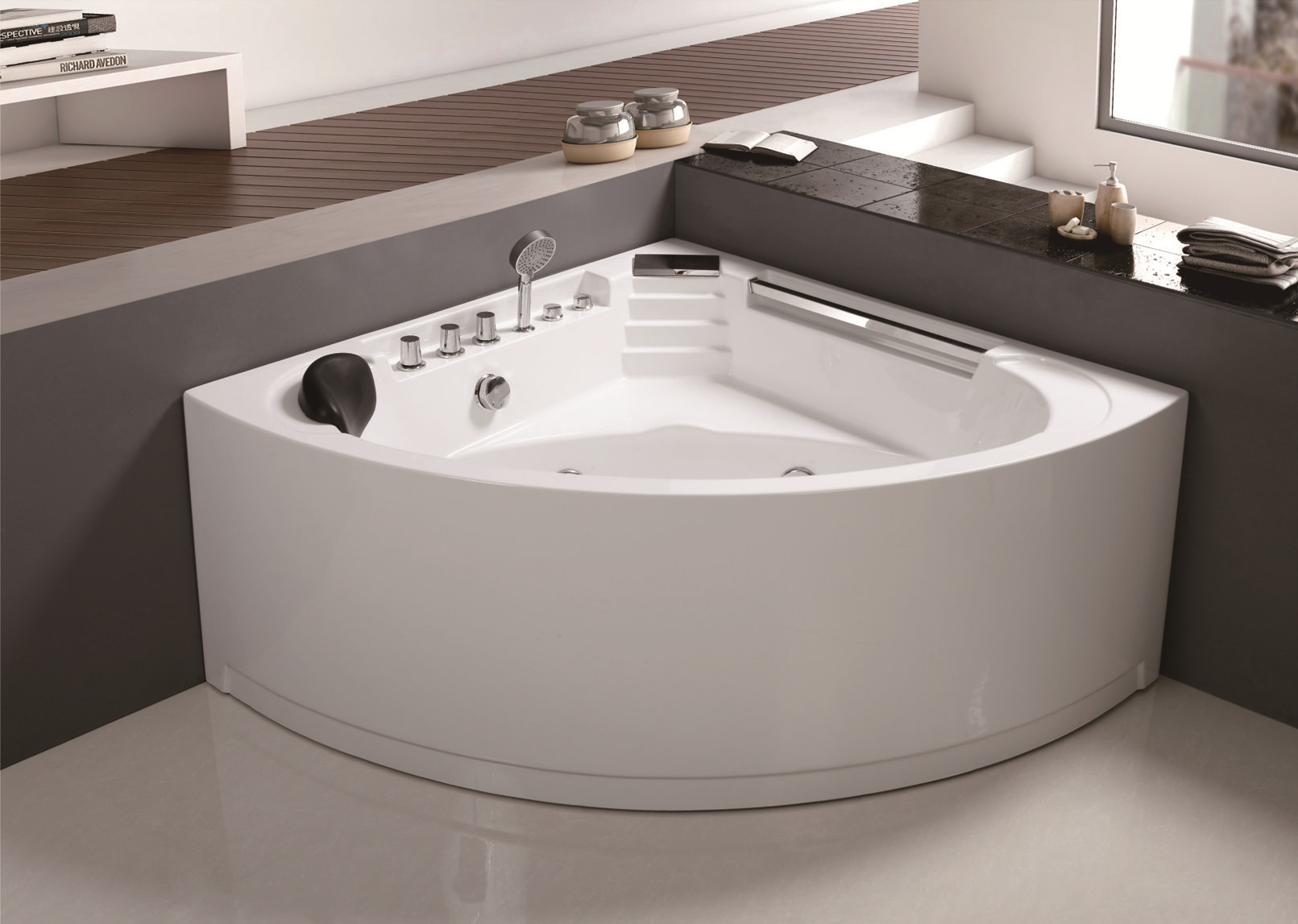 C-410 Corner Luxury Design Sector Deep Acrylic  Jetted Bathroom Bathtub for Sale with Cheap Price.jpg