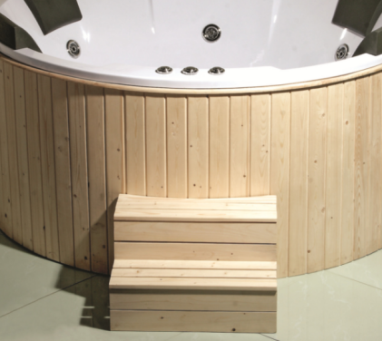 (3) MEC-001--Out Door Round Acrylic Massage Bathtub with Wooden Surrounded.png