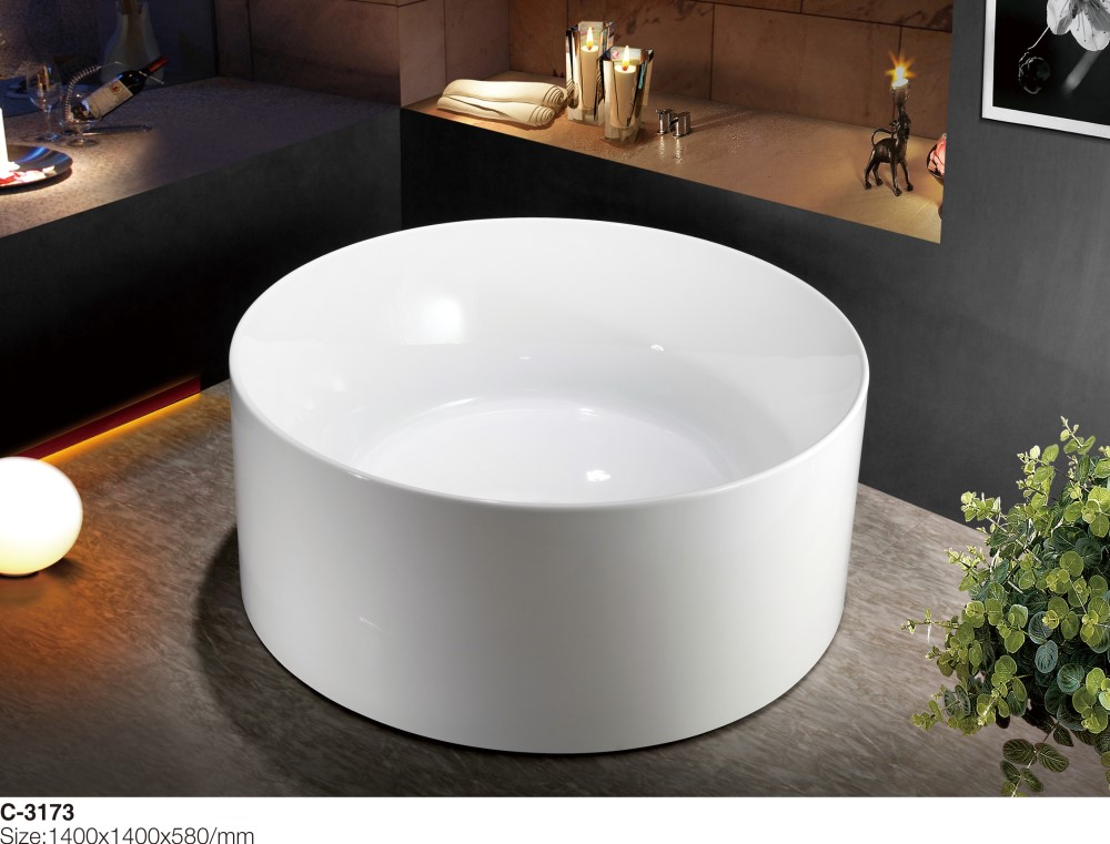 MEC-3173 --Center Drain Round Design Free Staning Acrylic Bathtub for One or Two Person_副本.jpg